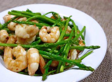 maaltijd boontjes garnalen